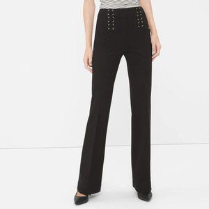 WHBM The Slim Flare Lace Up Ponte Knit Pants